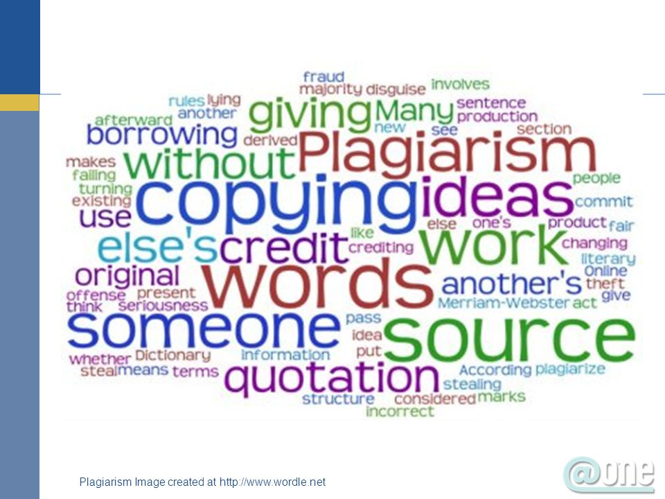 Plagiarism Image created at http://www.wordle.net