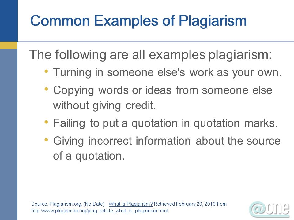 Common Examples of Plagiarism