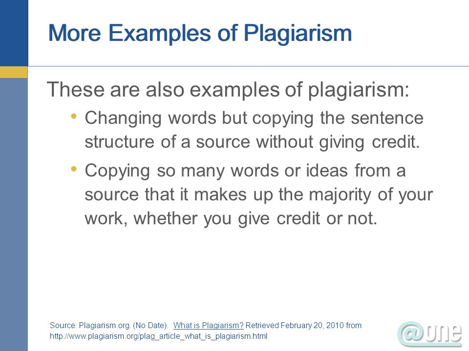 More Examples of Plagiarism