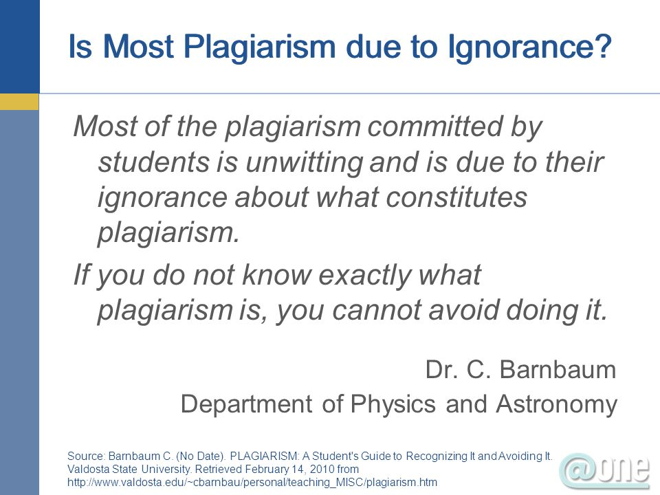 Is Most Plagiarism due to Ignorance