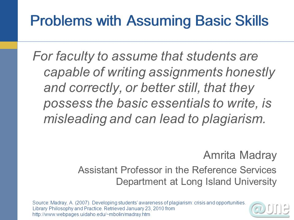 Problems with Assuming Basic Skills