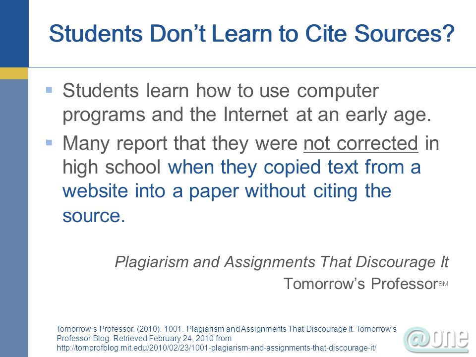 Students Don't Learn to Cite Sources