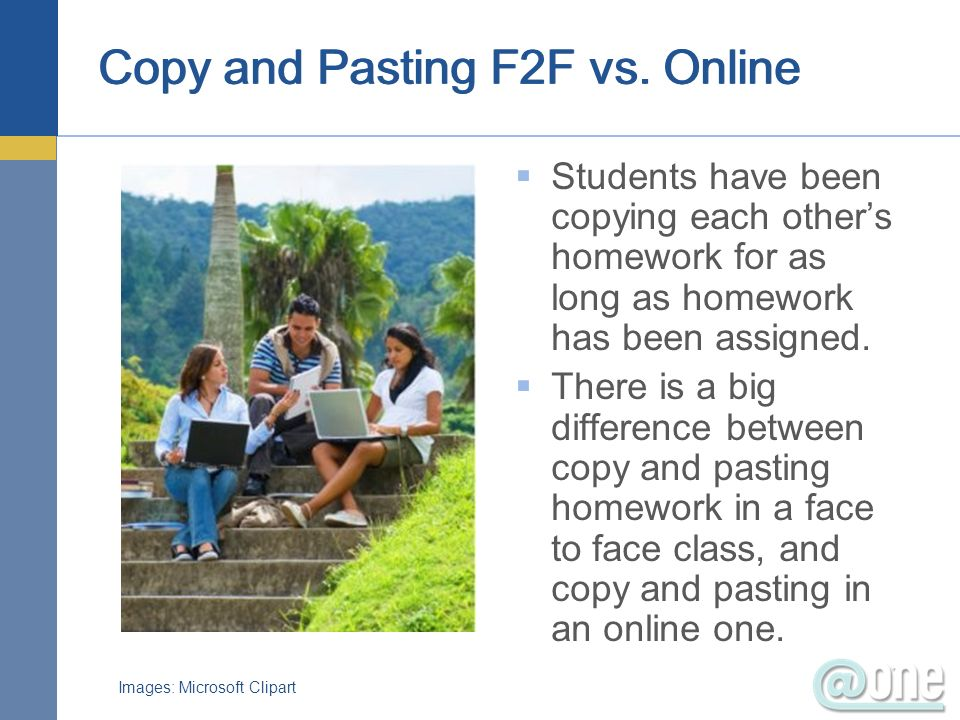 Copy and Pasting F2F vs. Online