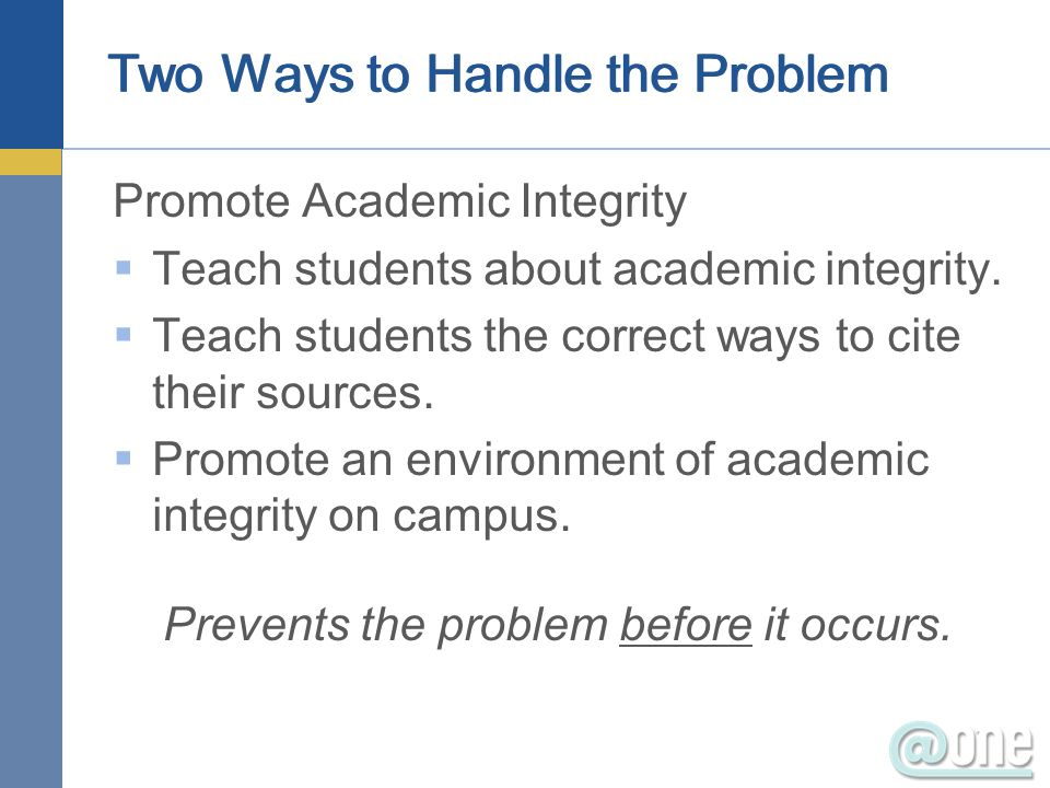 Two Ways to Handle the Problem