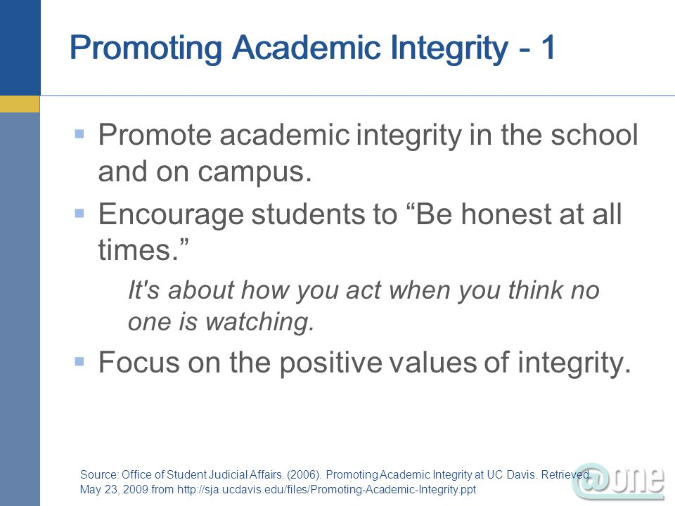 Promoting Academic Integrity - 1