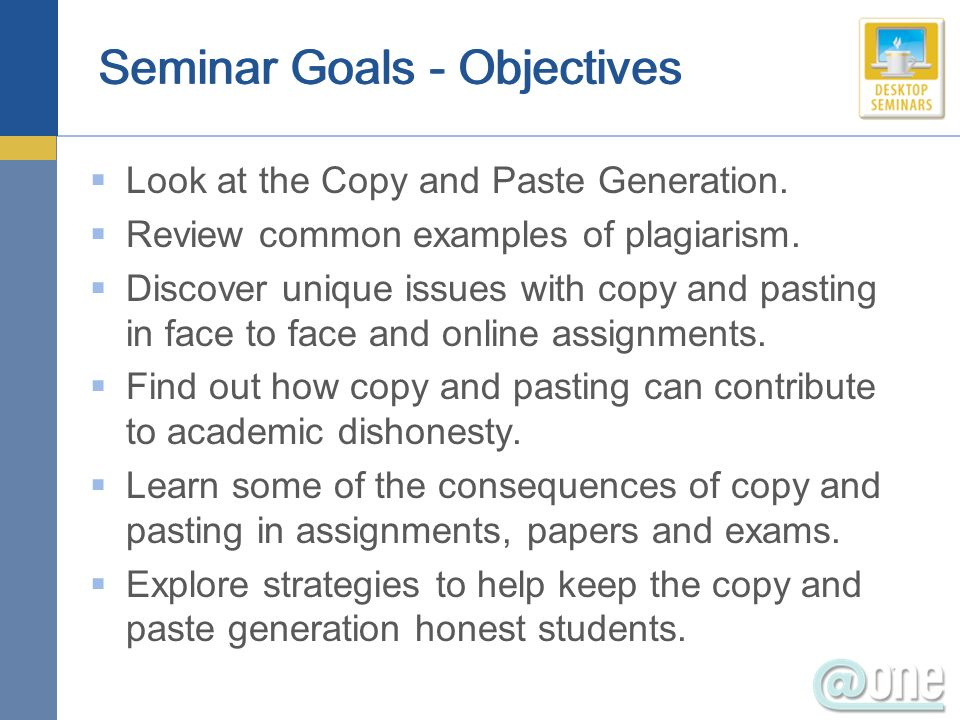 Seminar Goals - Objectives