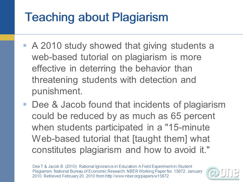 Teaching about Plagiarism