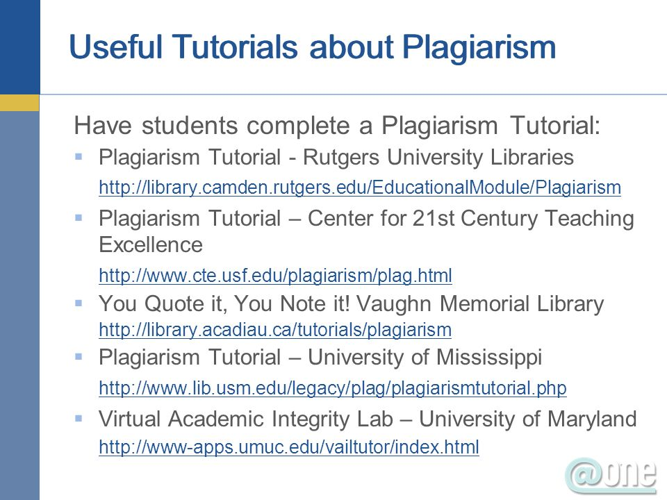 Useful Tutorials about Plagiarism