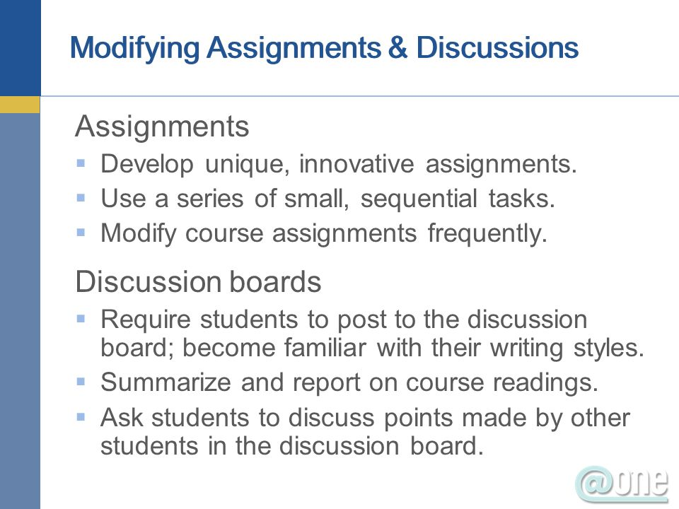 Modifying Assignments & Discussions