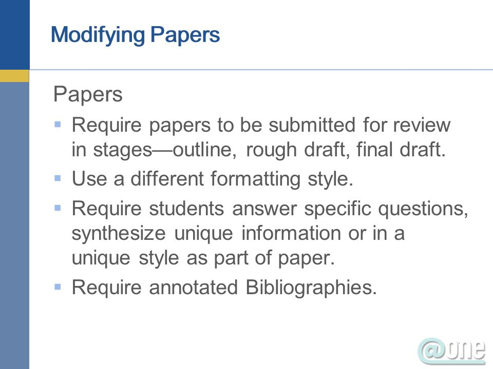 Modifying Papers Papers