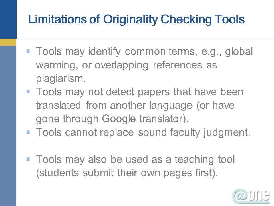 Limitations of Originality Checking Tools