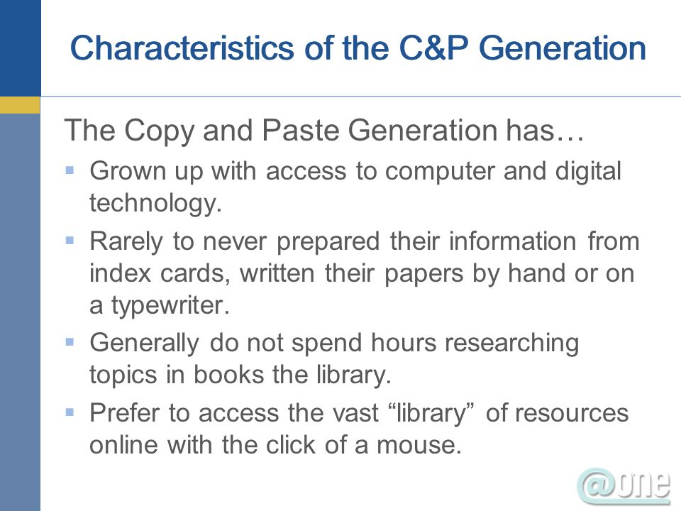 Characteristics of the C&P Generation