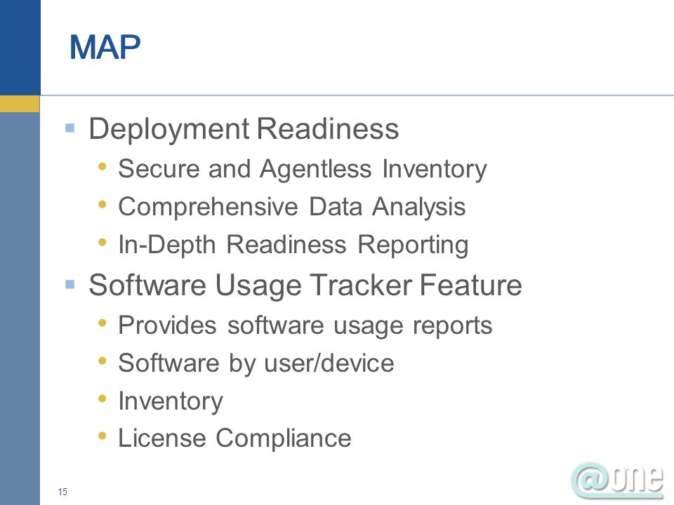 MAP Deployment Readiness Software Usage Tracker Feature