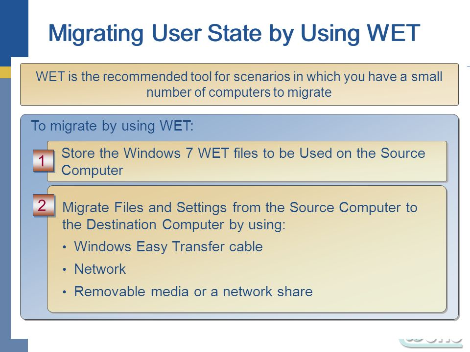 Migrating User State by Using WET