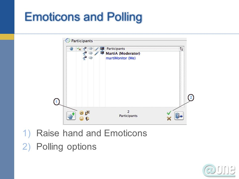 Emoticons and Polling Raise hand and Emoticons Polling options