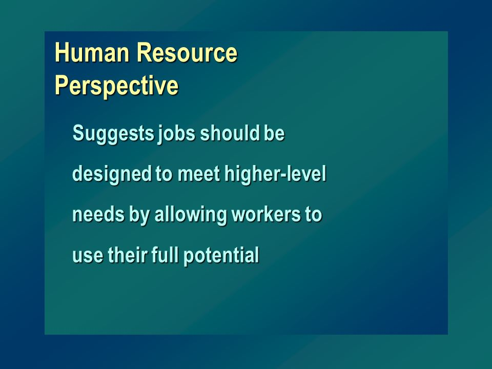 Human Resource Perspective