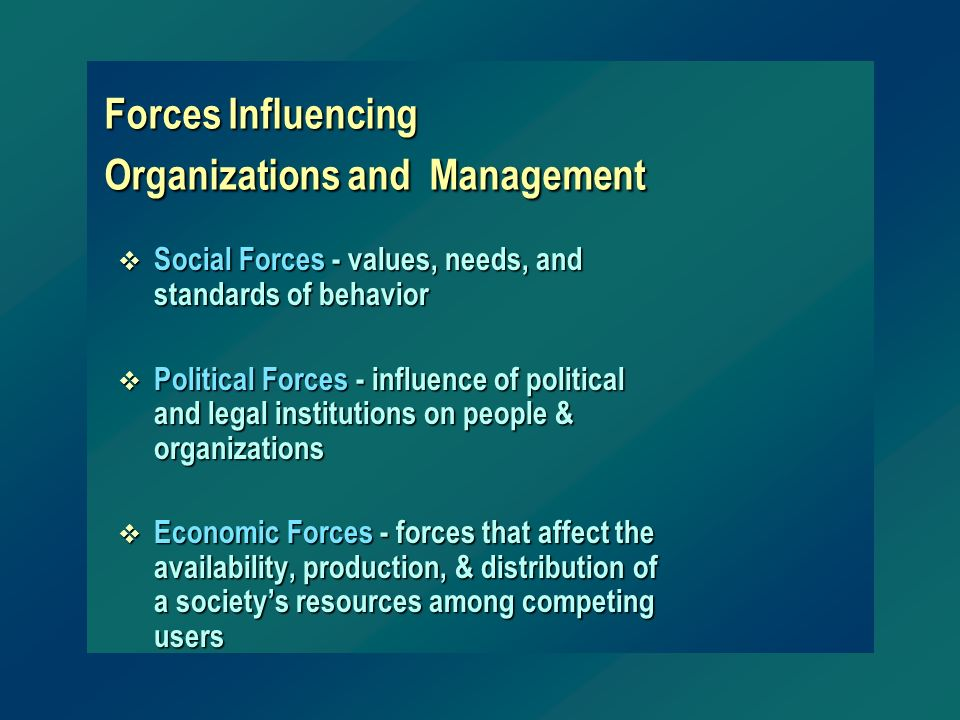 Forces Influencing Organizations and Management