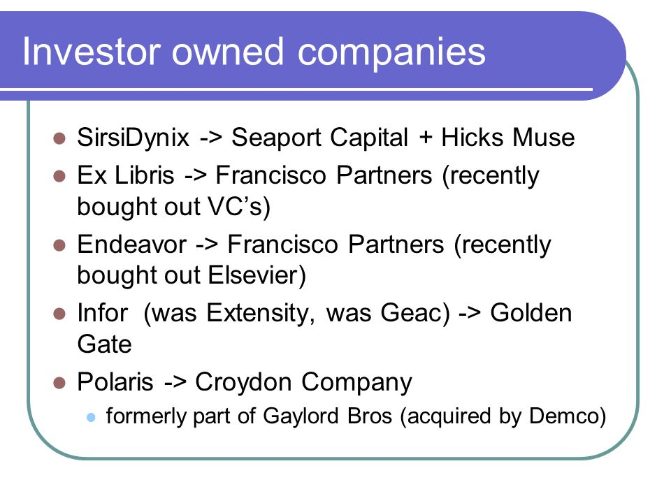 Investor owned companies