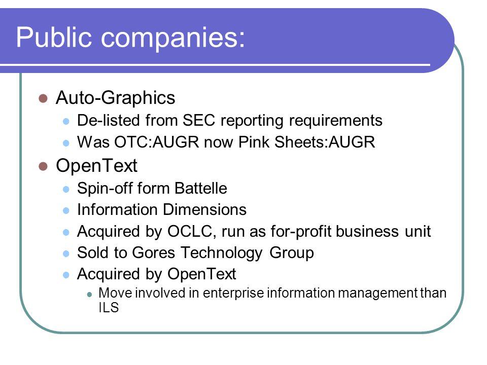 Public companies: Auto-Graphics OpenText