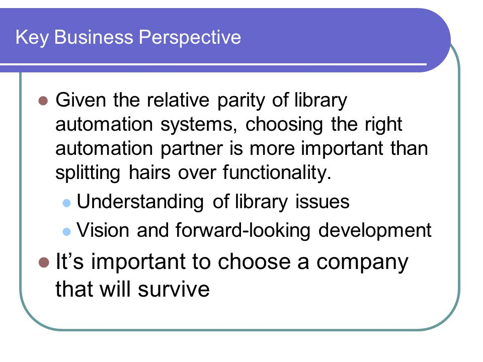 Key Business Perspective