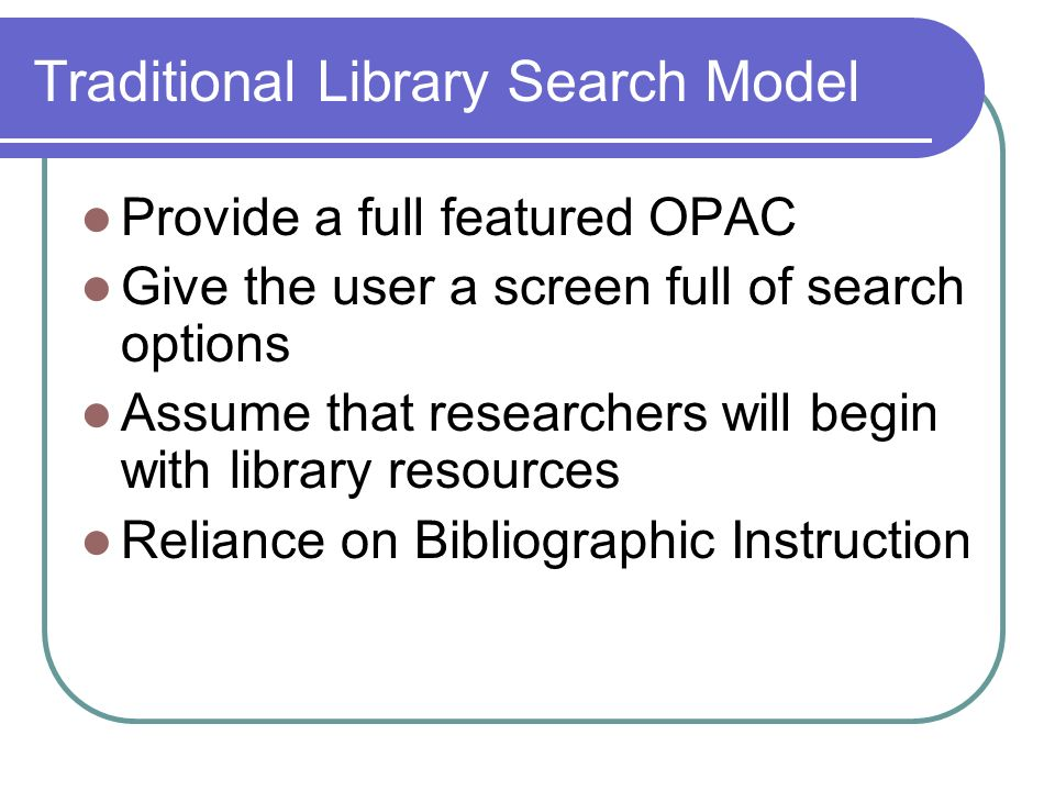 Traditional Library Search Model