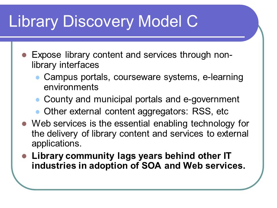 Library Discovery Model C