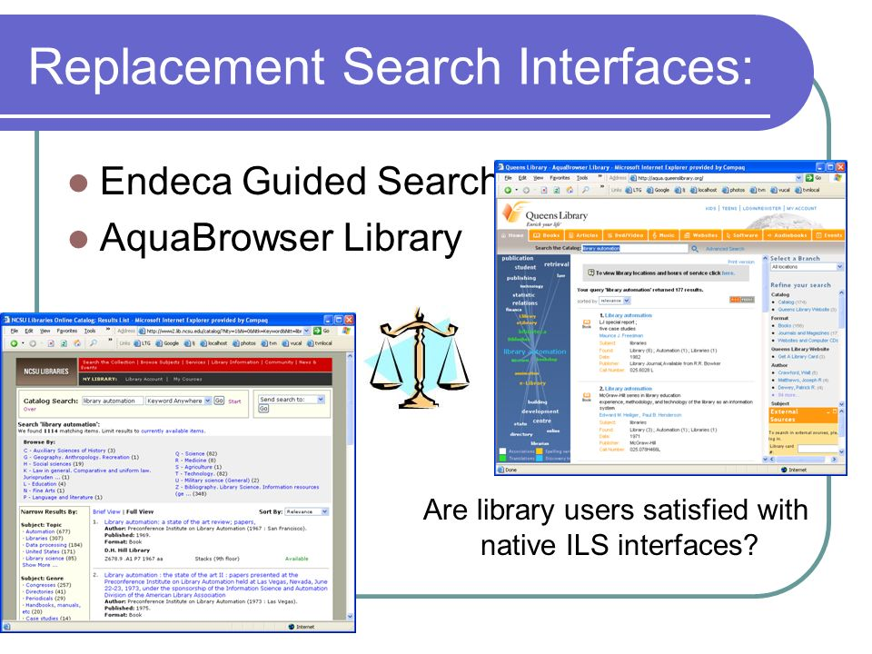 Replacement Search Interfaces: