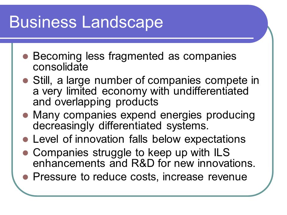 Business Landscape Becoming less fragmented as companies consolidate
