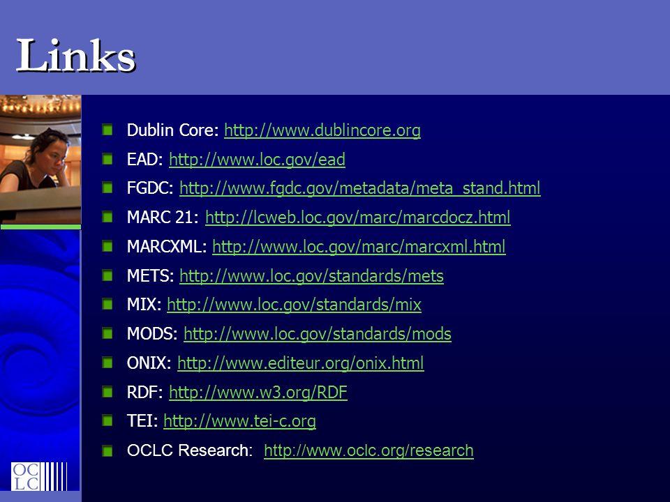 Links Dublin Core: http://www.dublincore.org