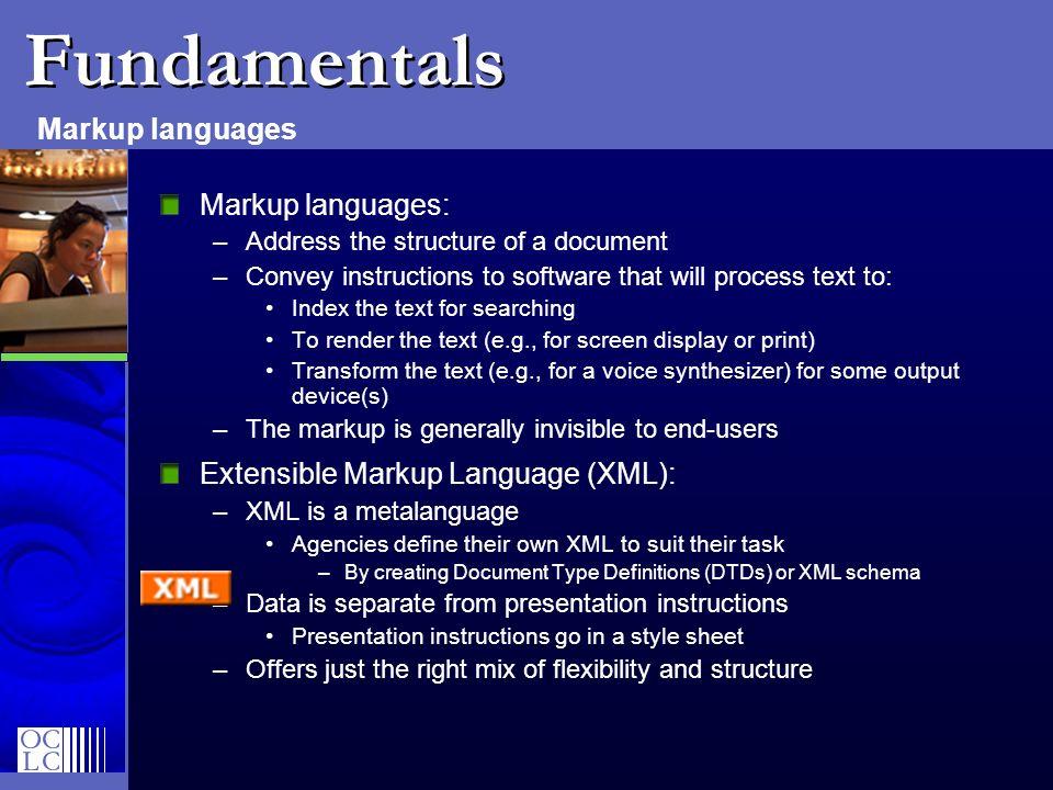 Fundamentals Markup languages Markup languages: