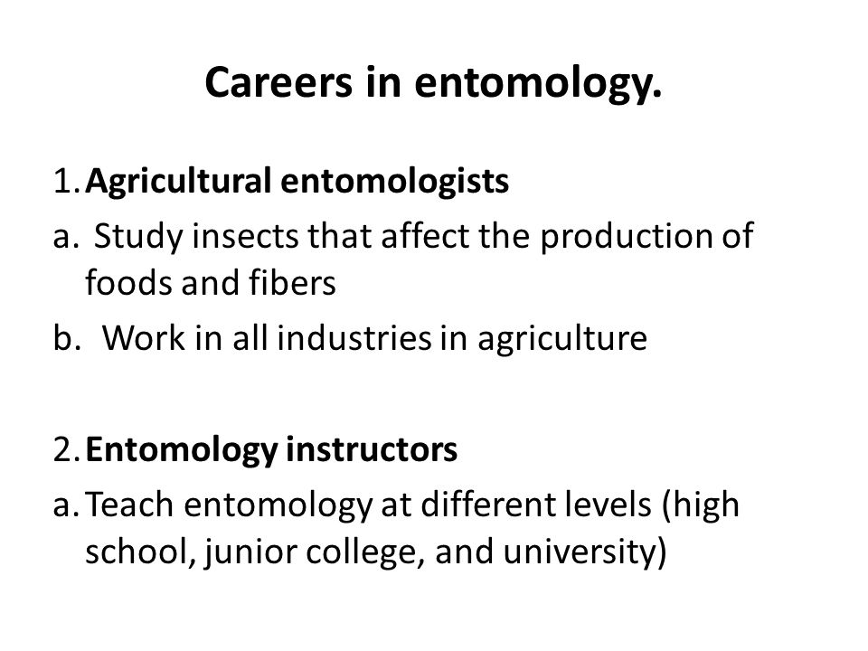 The What & Why of Entomology - Department of Entomology