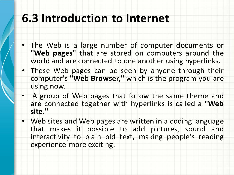 introduction of computer internet Computer basics handout page 6 winter 2011 microsoft excel to create spreadsheets and crunch numbers internet explorer to display websites from the world wide web.