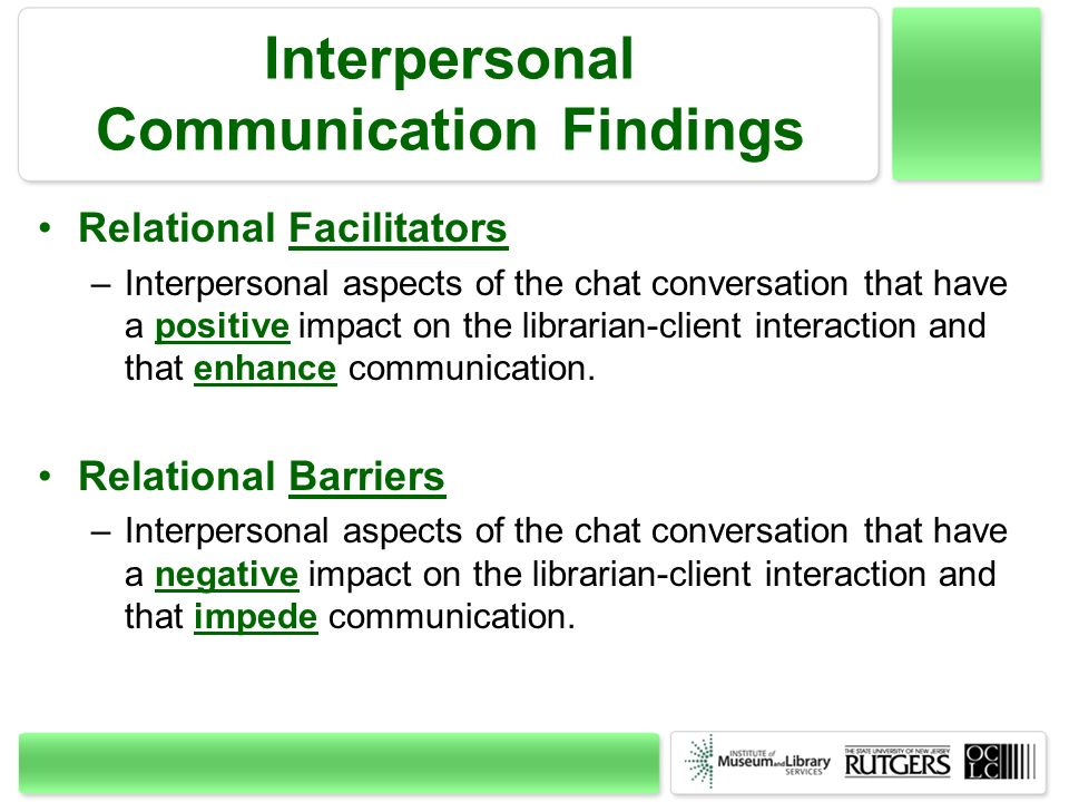 Interpersonal Communication Findings