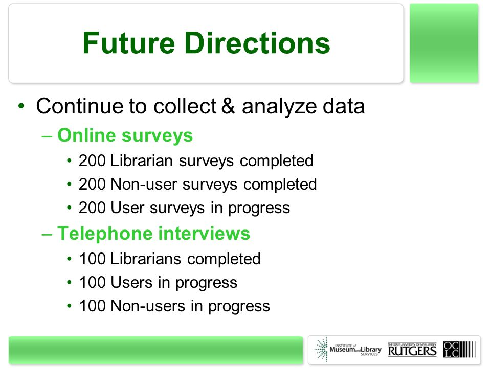 Future Directions Continue to collect & analyze data Online surveys