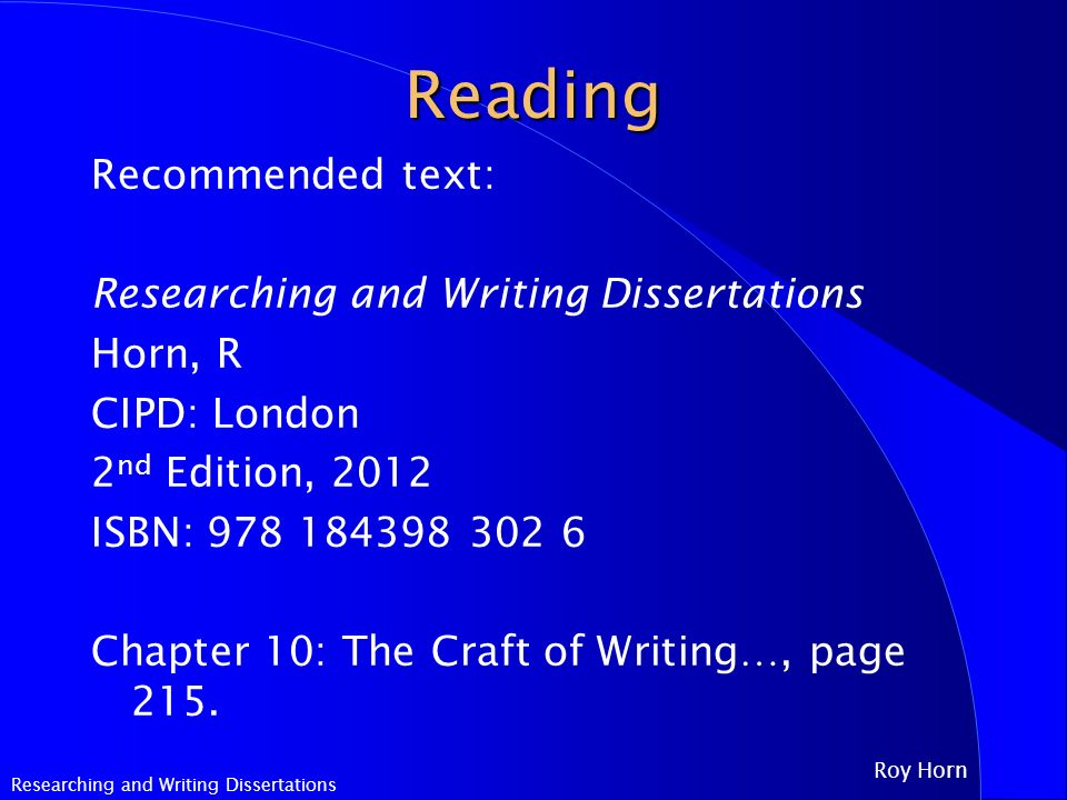 horn researching and writing dissertations Abebookscom: theses and dissertations: a guide to planning, research, and writing (9781412951166) by r murray thomas dale l brubaker and a great selection of similar new, used and collectible books available now at great prices.