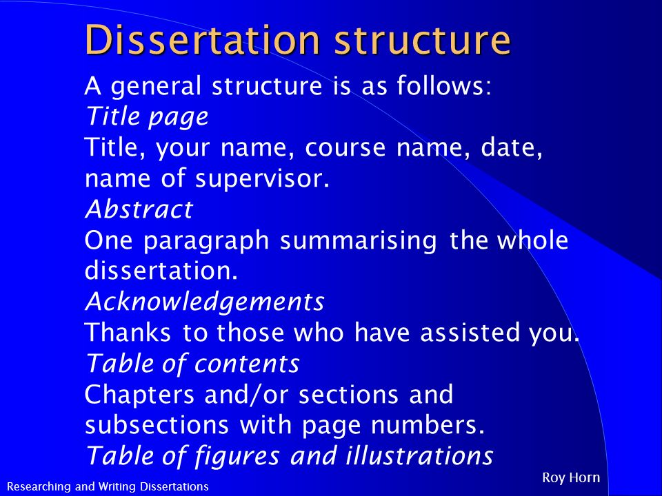 Dissertation abstract structure