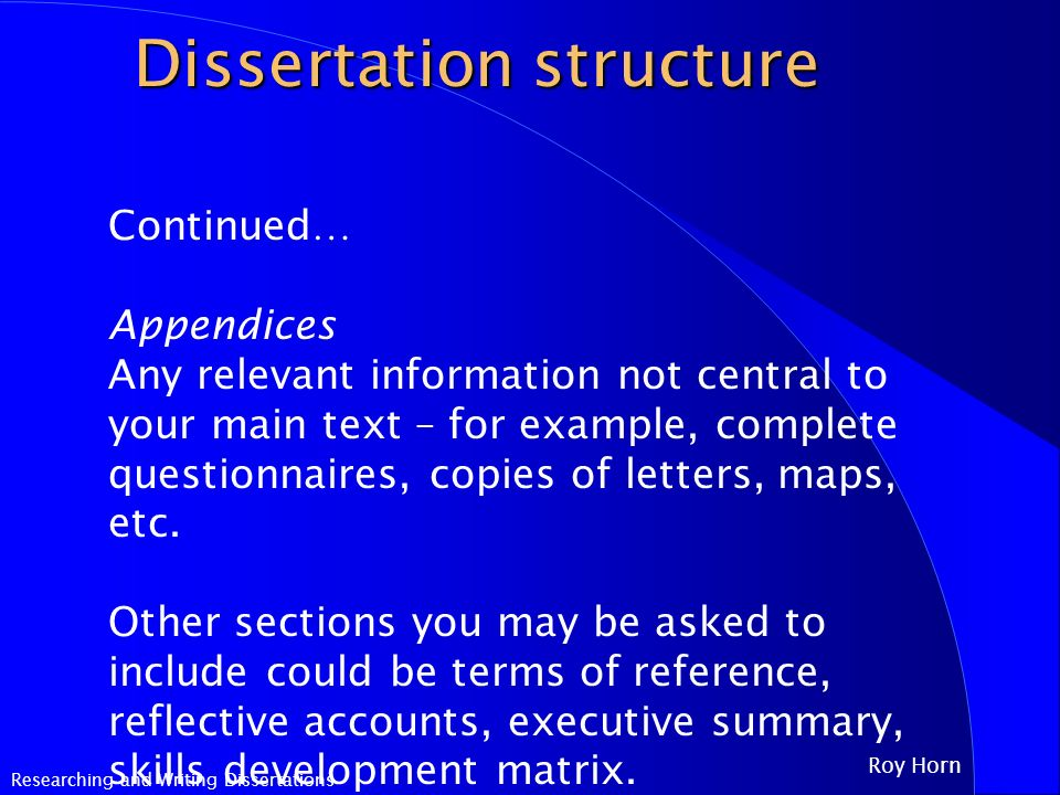 main sections of a dissertation This section describes the dissertation format dissertation formatting guidelines four or more lines of a quotation should be set off from the main.