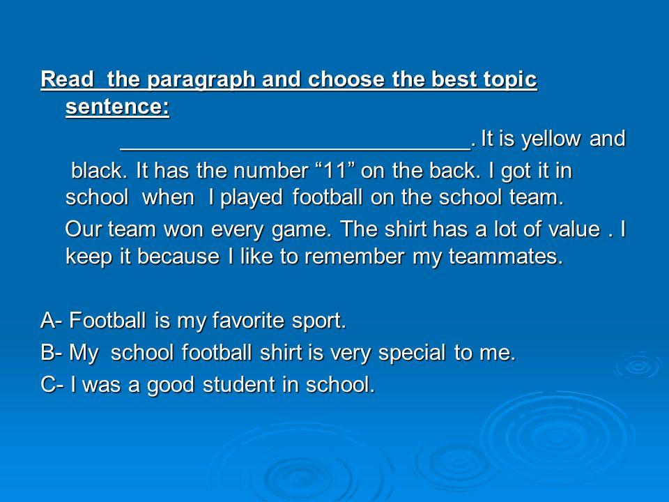 writing good topic sentence