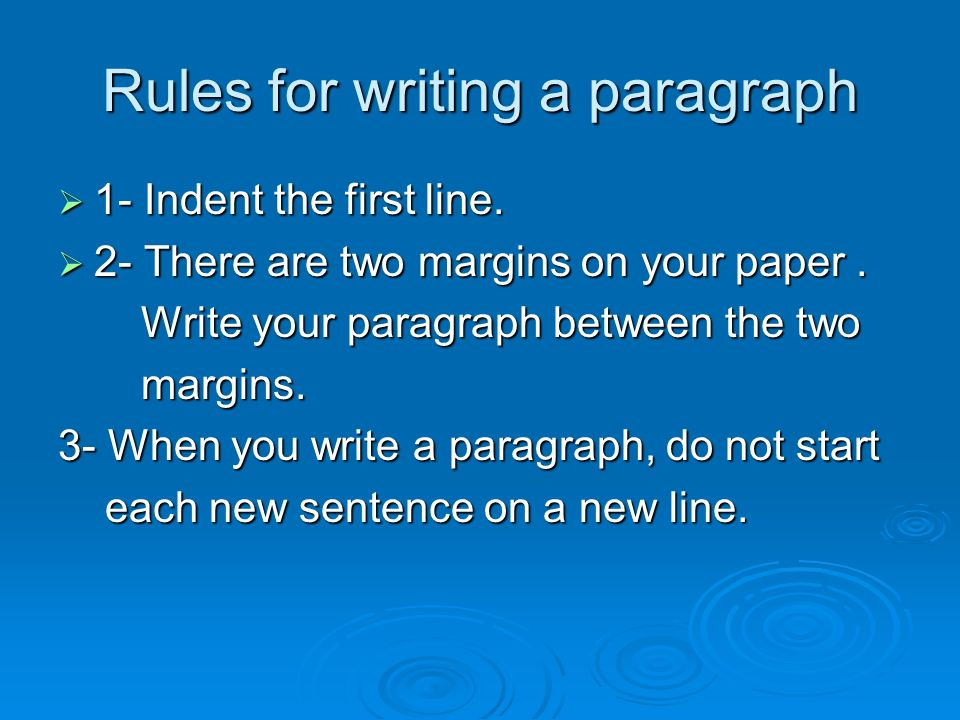 margin in writing a paragraph 2nd