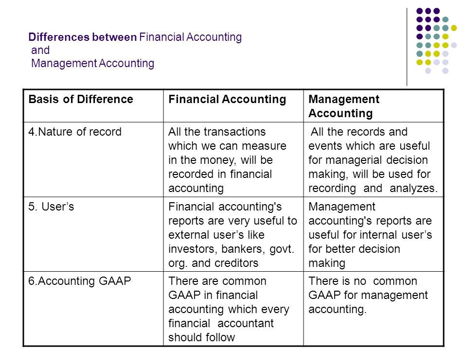 different financial account and management account