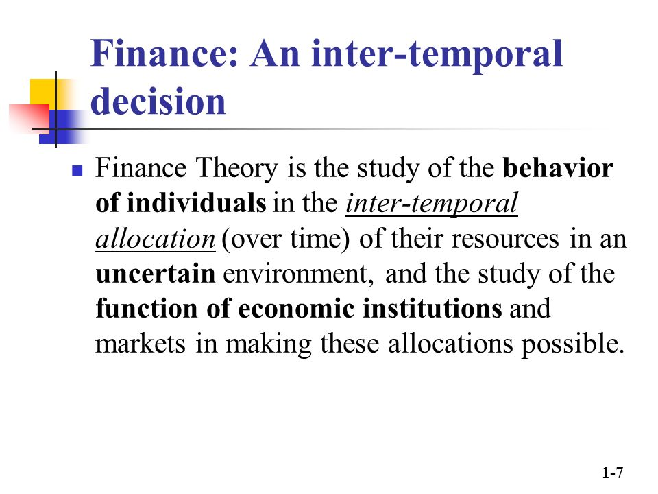 theory of financial decision making pdf