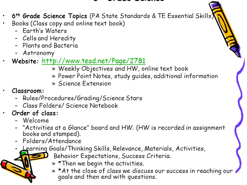 6th Grade Science 6th Grade Science Topics (PA State Standards & TE ...