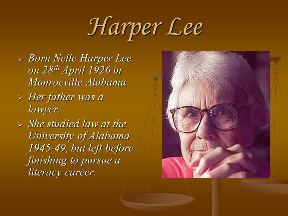 a biography of nelle harper lee born in monroeville alabama Harper lee was an american novelist and author of the pulitzer prize-winning best-seller 'to kill a mockingbird' she was born to frances and amasa lee on april 28, 1926 in monroeville, alabama she had four older siblings.