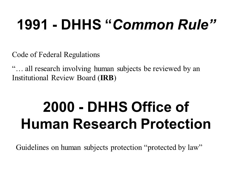 an introduction to the office of human research protection Ulm policy for protection of human research subjects all research projects ulm office of sponsored programs and research (ospr) protection of human subjects 2 introduction.