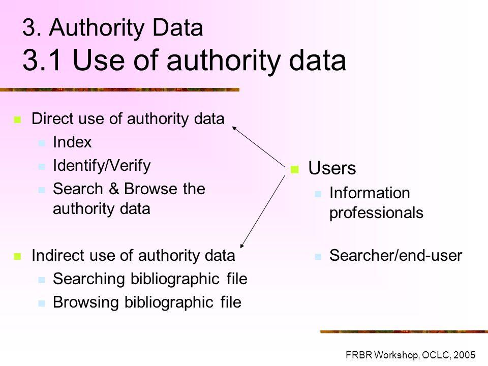 3. Authority Data 3.1 Use of authority data