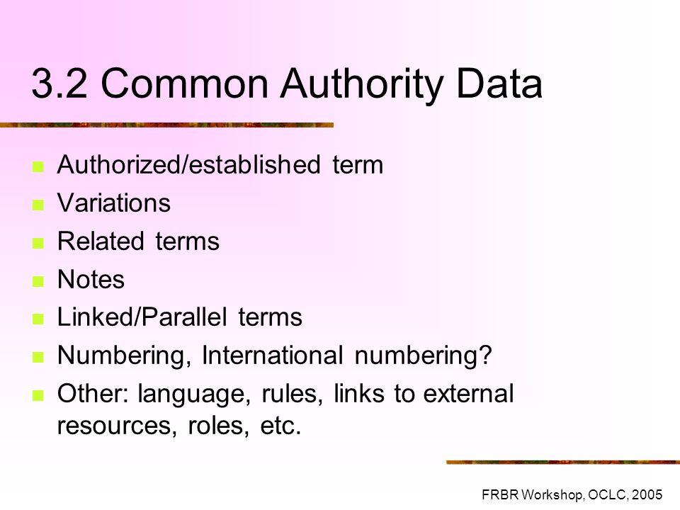 3.2 Common Authority Data Authorized/established term Variations