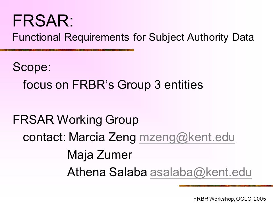 FRSAR: Functional Requirements for Subject Authority Data