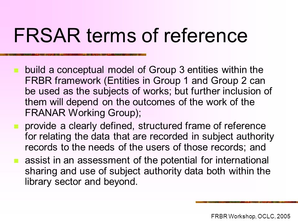FRSAR terms of reference