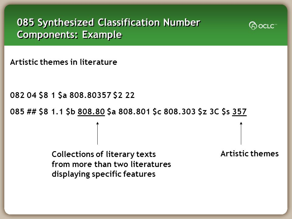 085 Synthesized Classification Number Components: Example