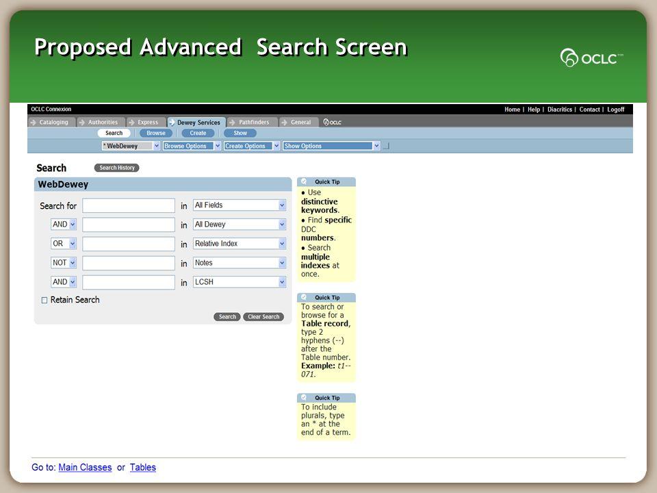 Proposed Advanced Search Screen